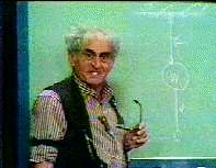 The Professor, Julius Sumner Miller at his chalkboard.